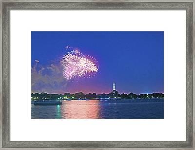 July 4th Fireworks Along The Potomac Framed Print by Steven Barrows