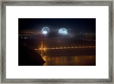 July Fourth Over The Bay Framed Print by Daniel Furon