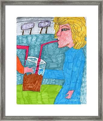 Jumbo Drink Contest Framed Print by Elinor Rakowski