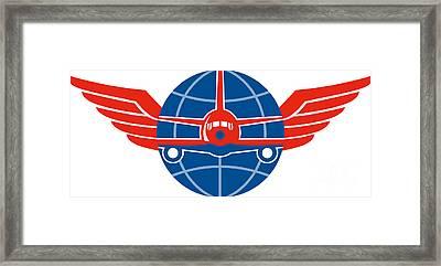 Jumbo Jet Plane Front Wings Globe Framed Print by Aloysius Patrimonio