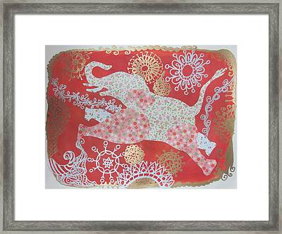 Jumping Elephant Framed Print by Cherie Sexsmith