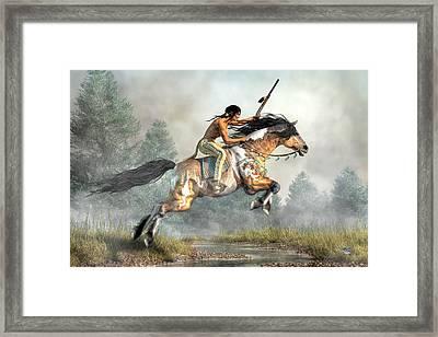 Jumping Horse Framed Print by Daniel Eskridge