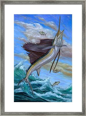 Jumping Sailfish Framed Print by Terry Fox