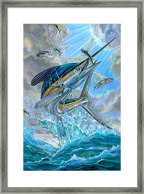 Jumping White Marlin And Flying Fish Framed Print by Terry Fox