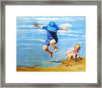 Jump'n Jack And Jill Framed Print by Judy Kay