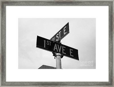junction of first street and first avenue on a cold grey day assiniboia Saskatchewan Canada Framed Print by Joe Fox