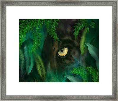 Jungle Eyes - Panther Framed Print by Carol Cavalaris