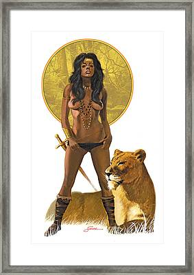 Jungle Girl Framed Print by Harold Shull