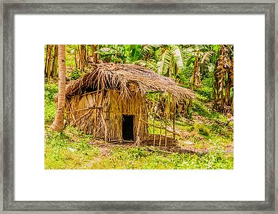 Jungle Hut In A Tropical Rainforest Framed Print by Colin Utz