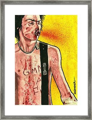 Junkie Portrait Series Sid Vicious  Framed Print by David Shumate