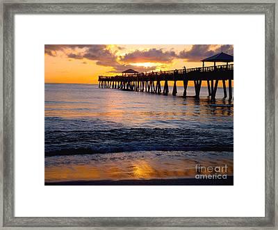 Juno Beach Pier Framed Print by Carey Chen