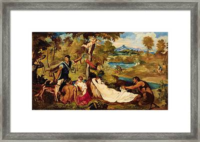 Jupiter And Antiope Framed Print by Edouard Manet