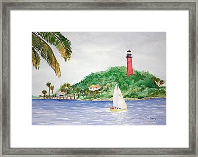 Jupiter Inlet Lighthouse Framed Print by Jeff Lucas