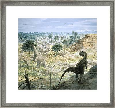 Jurassic Dinosaurs, Artwork Framed Print by Science Photo Library