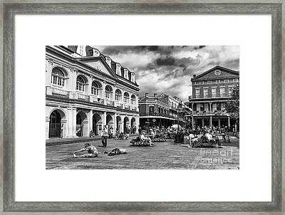 Just Another Day At Jackson Square Mono Framed Print by John Rizzuto
