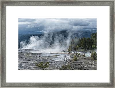 Just Before The Storm - Mammoth Hot Springs Framed Print by Sandra Bronstein