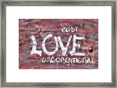 Just Love Unconditional  Framed Print by Cathy  Beharriell