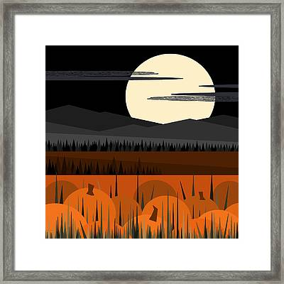 Just Waiting - Jack O Lanterns And Pumpkin Pie Framed Print by Val Arie