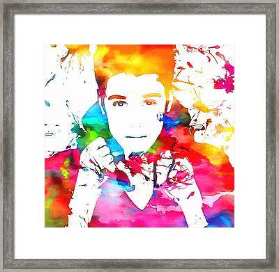 Justin Bieber Watercolor Paint Splatter Framed Print by Dan Sproul