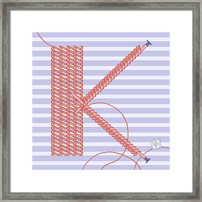 K Is For Knitters And Knitting Framed Print by Valerie Drake Lesiak