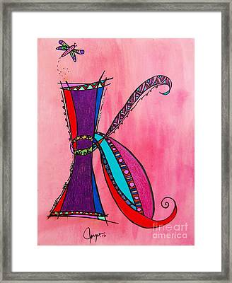 'k' Monogram Framed Print by Joyce Auteri