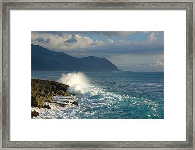 Kaena Point State Park Crashing Wave - Oahu Hawaii Framed Print by Brian Harig