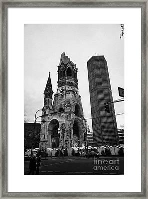 Kaiser Wilhelm Gedachtniskirche Memorial Church New Bell Tower And Christmas Market Berlin Germany Framed Print by Joe Fox