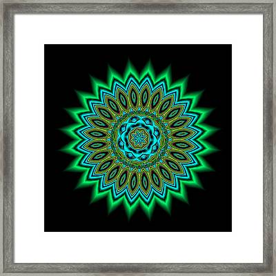 Kaleidoscope 1 Blues And Greens Framed Print by Faye Giblin