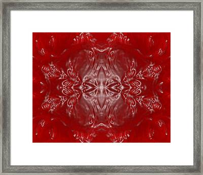 Kaleidoscope In Red And White Framed Print by Gina Lee Manley