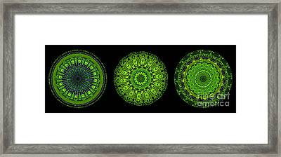 Kaleidoscope Triptych Of Glowing Circuit Boards Framed Print by Amy Cicconi