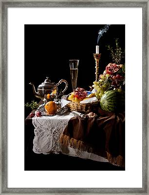 Kalf - Banquet With Fruits Framed Print by Levin Rodriguez