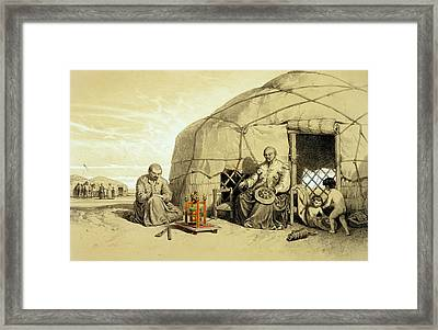 Kalmuks With A Prayer Wheel, Siberia Framed Print by Francois Fortune Antoine Ferogio