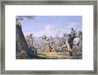 Kalmuks Wrestling, 1812-13 Framed Print by E. Karnejeff