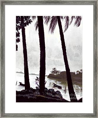 Kaneohe Bay From Bus Stop Framed Print by Mukta Gupta