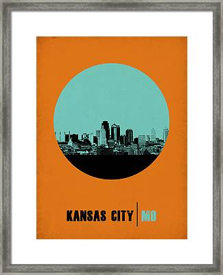 Kansas City Circle Poster 1 Framed Print by Naxart Studio