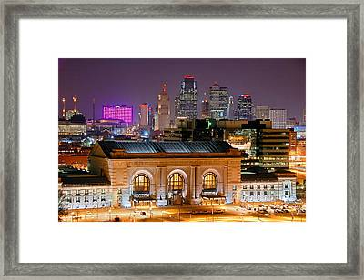 Kansas City Skyline At Night Kc Downtown Color Panorama Framed Print by Jon Holiday