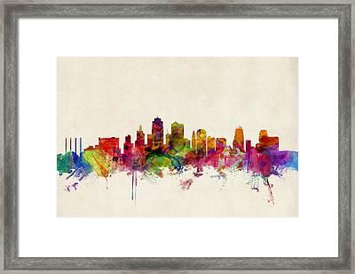 Kansas City Skyline Framed Print by Michael Tompsett