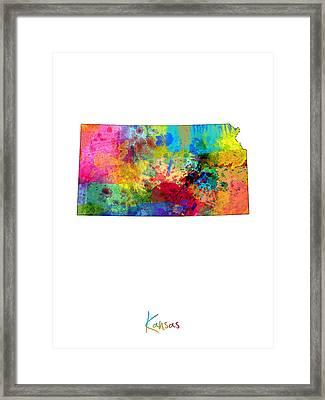 Kansas Map Framed Print by Michael Tompsett