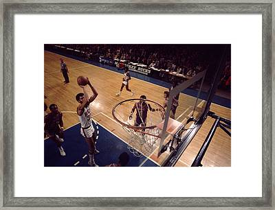 Kareem Abdul Jabbar Jump Shot In The Paint Framed Print by Retro Images Archive