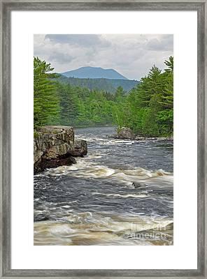 Katahdin And Penobscot River Framed Print by Glenn Gordon