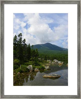 Katahdin From Sandy Stream Pond Framed Print by Georgia Hamlin