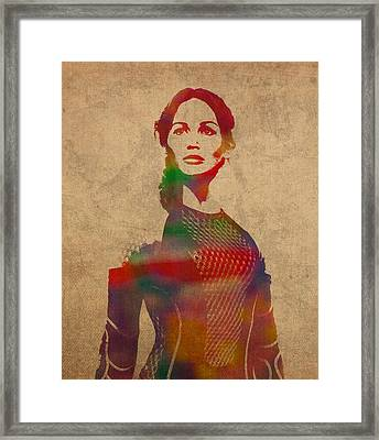 Katniss Everdeen From Hunger Games Jennifer Lawrence Watercolor Portrait On Worn Parchment Framed Print by Design Turnpike