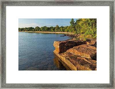 Kayakers At Campsites On York Island Framed Print by Chuck Haney