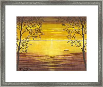Kayaks In Golden Sunset Framed Print by Cyndi Kingsley