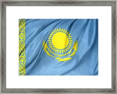 Kazakhstan Flag Framed Print by Les Cunliffe