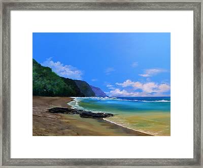 Ke'e Beach Kauai Framed Print by Ken Ahlering