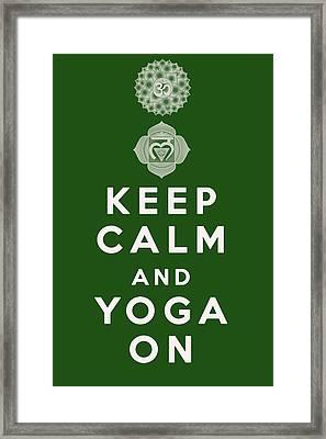 Keep Calm And Yoga On Framed Print by Georgia Fowler