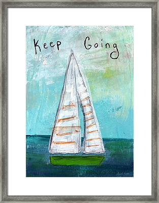Keep Going- Sailboat Painting Framed Print by Linda Woods