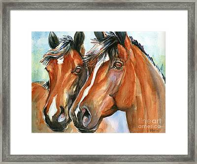 Horse Painting Keeping Watch Framed Print by Maria's Watercolor