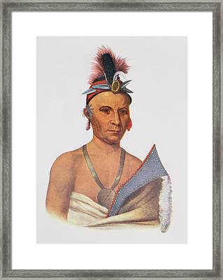 Keesheswa Or The Sun, A Fox Chief, C.1837, Illustration From The Indian Tribes Of North America Framed Print by Charles Bird King